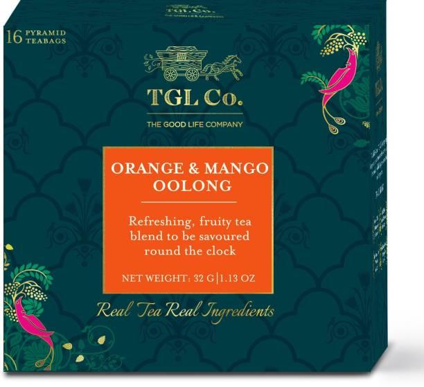 TGL Co. Orange & Mango Oolong Tea, 16 Tea Bags with Semi Fermented Formosa Oolong Tea, Semi Fermented Milk Oolong Tea, Peel Orange, Mango, Pineapple Oolong Tea Bags Box