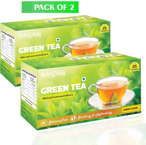 NutroVally green tea for weight loss & Build Immunity | Premium tea leaves with Active Ingredients Lemon Green Tea Lemon Green Tea Bags Box