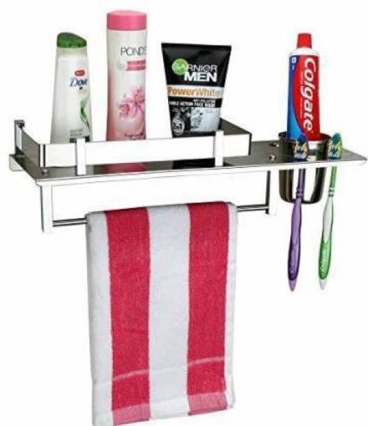 Filox Stainless Steel 3 in 1 Multipurpose Bathroom Shelf/Rack silver Towel Holder