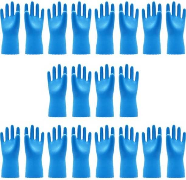 VAAMnational Rubber Hand Gloves Reusable Washing Cleaning Kitchen, Garden Glove, Gardening Glove, Garden Gloves, Gleaning Gloves blue glove Gardening Shoulder Glove