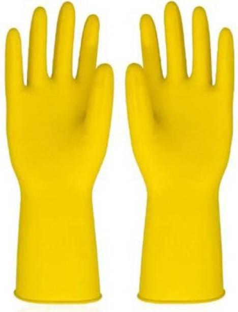 VAAMnational Rubber Hand Gloves Reusable Washing Cleaning Kitchen, Garden Glove, Gardening Glove, Garden Gloves, Gleaning Gloves yellow 1 pair Gardening Shoulder Glove