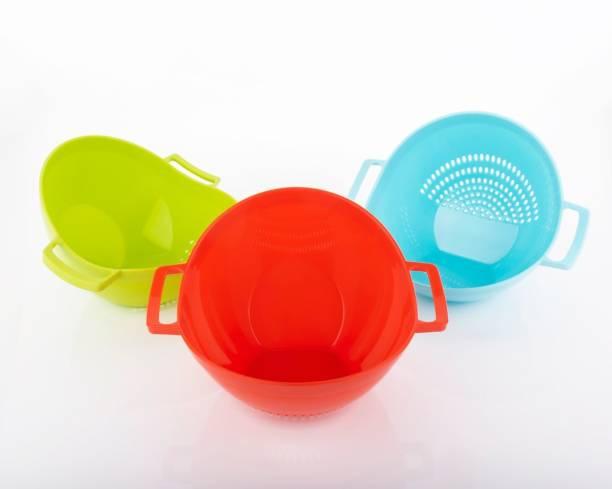 HUMBLE KART Rice, Fruit, Vegetable Washing Bowl Strainer Colander (Multicolor Pack of 3) Colander