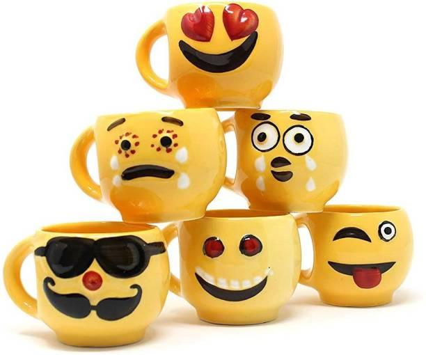 Himdivya Pack of 6 Bone China, Ceramic Pack of 6 , Bone China SMILEY FACE CUPS EMOJI STYLE CUP Coffee Mug Tea Cup with Handle