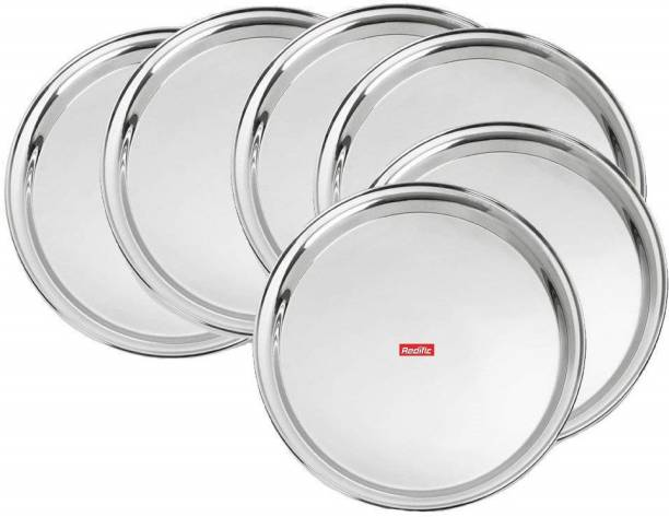 Redific Stainless Steel Dinner Plate Set 13 Size 6 piece Dinner Plate