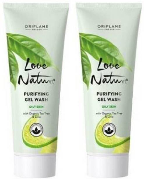 Oriflame Sweden LOVE NATURE Purifying Gel Wash with Organic Tea Tree & Lime  (Pack of 2) Face Wash
