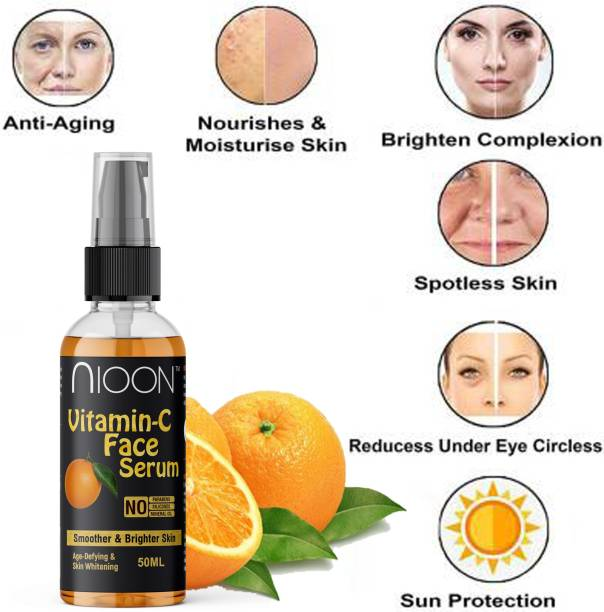 NIOON Anti-Aging Vitamin C 20% Serum - 50Ml - With Hyaluronic Acid And Vit E - Wrinkle Repairs Dark Circles, Fades Age Spots And Sun Damage