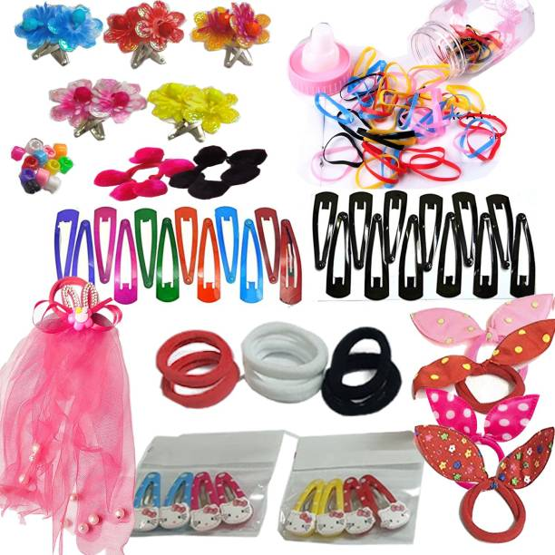 Kidzoo 110pc Beautiful Hair Accessories Set Combo For Kids, Girls & Women- Tik Tak, Rubber Band, Hair Clips & Hair Rubber Band Hair Accessories set for Girls & Women for Gift, Party & Regular Daily Use Hair Accessory Set