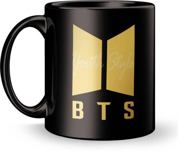Youth Style Full Black BTS Printed Colorful Design Printed Coffee And Tea 320ml Gift For Friend/Boyfriend/girlfriend Blk-973 Ceramic Coffee Mug