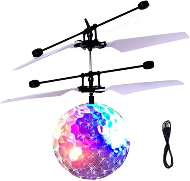 Kidzy premium quality exceed induction FLYING BALL TOY & palm UFO & mini UAV with hand infrared SENSOR control for UP & DOWN like helicopter toy & folding BLADES & COLOURFUL DISCO LIGHT under KIDS entertainment with fun