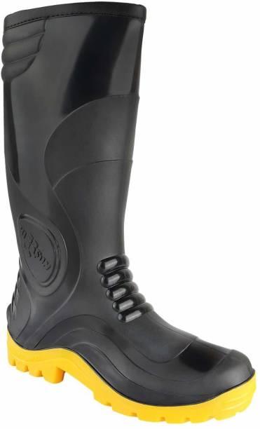 Hillson Black/Yellow Gumboot Soft Toe PVC Safety Shoe