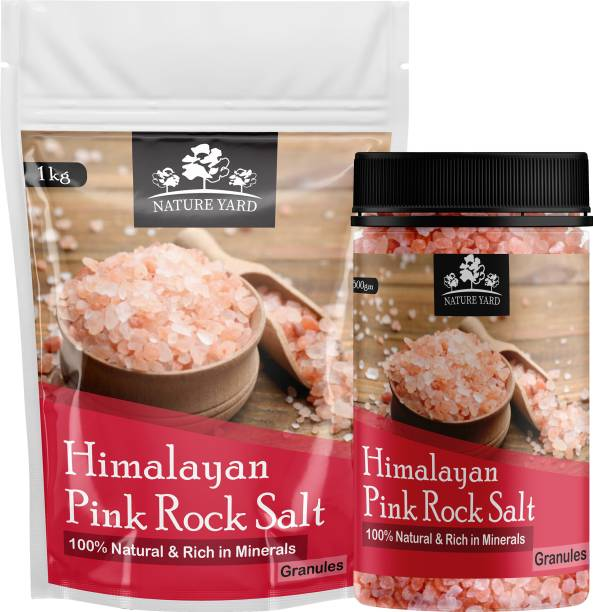 NATURE YARD Himalayan Pink Salt Granules for Weight Loss - 1.5Kg ( 1Pouch with 1 Reusable Jar ) - 100% Natural and Antioxidant with Essential Minerals Himalayan Pink Salt