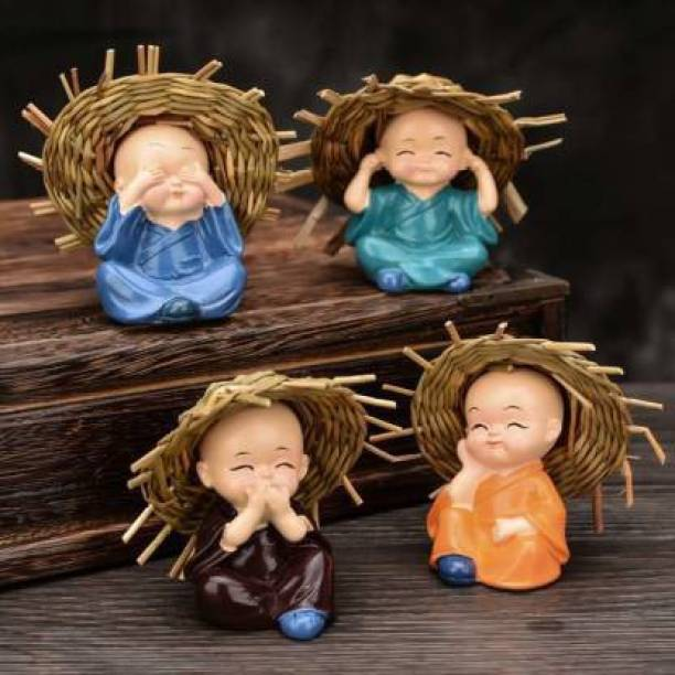 Fashion Bizz Set of 4 Baby Monk Hat Buddha Figurines - for Car Dashboard | Home Decor| Office Decor| Gifting for Pregnant Women| Diwali Decor| Vaastu Decor| Fengshui Decorative Showpiece  -  6 cm