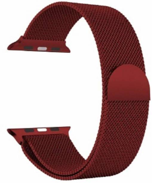 JIGO PLUS Stainless Steel Milanese Strap Band with Magnetic Closure for iWatch 38mm/40mm, Compatible with Watch Series 1/2/3/4/5/6 T_38/40mm_Alaskan Red(Chain) Smart Watch Strap (Alaskan Red) Smart Watch Strap
