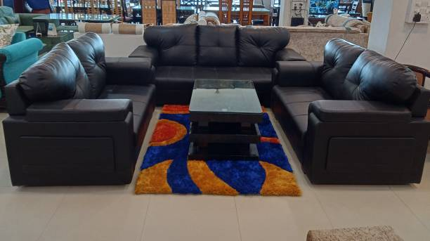 Kk industries Leatherette 3 + 2 + 2 Mat Black Sofa Set