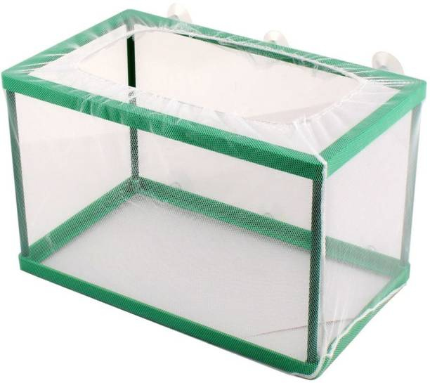 uxcell Aquarium Fishbowl Tank Floating Box Fry Shrimp Breeding Cage Net White Green Replacement Rectangle Aquarium Tank