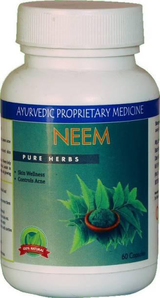 Rudraa Neem (Azadirachta indica) 60 Cap Pure Herbs For Skin Wellness And Acne Control