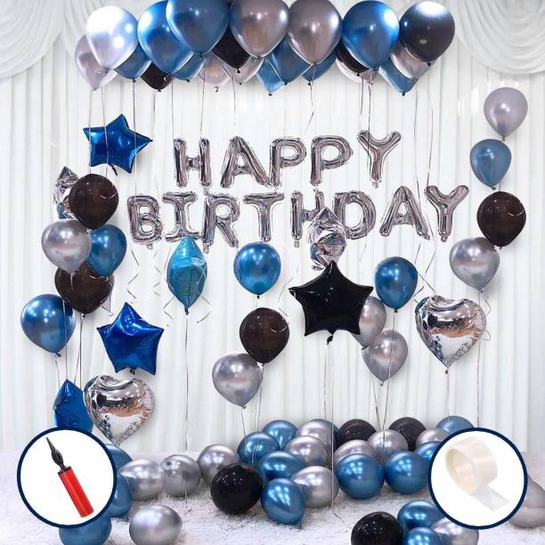 Hemito Solid 45 Pcs Combo -Blue, Black and Silver Metallic Balloons with Air Pump + Happy Birthday Letter Foil + Glue Dot| Birthday Decorations Kit Balloon