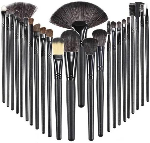 SKINPLUS Professional Wood Make Up Brushes Sets With Leather Storage Pouch