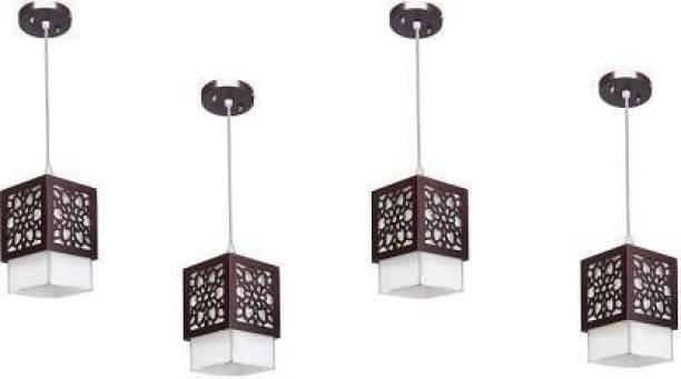 Gojeeva Wooden Hanging Lamp Style Hanging Lamp Creative Wood Pendant Light Lamp suitable for Living Room,Foyer,Bedroom,Hallway Pendants(pack of 4) Pendants Ceiling Lamp