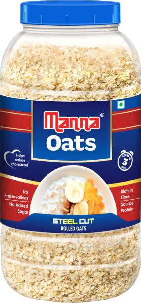 Manna Oats - 1kg | Gluten Free Steel Cut Rolled Oats | High in Fibre & Protein | 100% Natural | Helps Maintain Cholesterol. Good for Diabetics