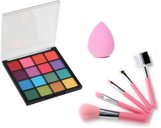 BR Belle Rosa Ultimate Eyeshadow Palette with 5 pcs. makeup brush set & MN Blender Beauty