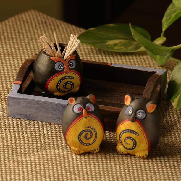 ExclusiveLane Small 'Triple Owl Shaped' Dining Table Decorative Pepper Dispenser Toothpick Holder 4 Piece Salt & Pepper Set