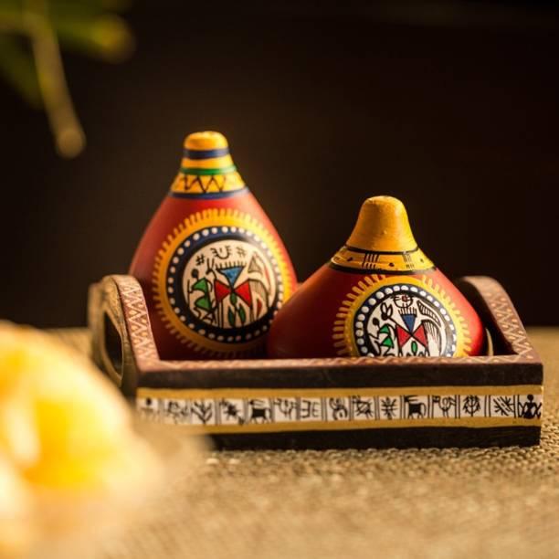 ExclusiveLane Warli Handpainted Terracotta Set of (Including Tray) 3 Piece Salt & Pepper Set
