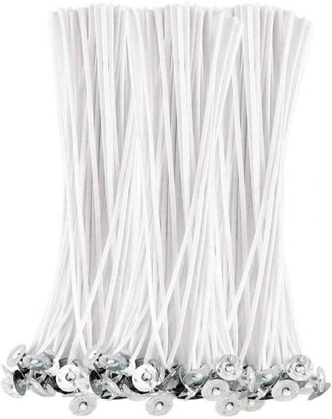 JHINTEMETIC Classic (6 - Inch) Low Smoke DIY Candle Making Wicks, Wax Coated Candle Wicks Threads - Pack of 100 Wicks Cotton Wick