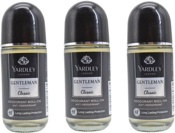 Yardley London Gentleman Classic Deodorant Roll-On Alcohol Free 50ML Each (Pack of 3) Deodorant Roll-on  -  For Men