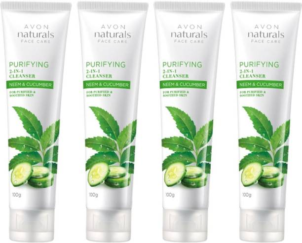 AVON Naturals Face Care Purifying 2-in1 Cleanser Neem & Cucumber (set of 4) Face Wash