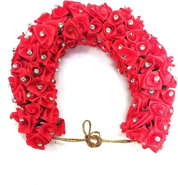 S Mark Smark Artificial Gajra Stone Design for Hair Bun Women - Hair Accessory for Women - Rose Red (Pack of 1) Bun Clip