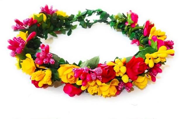 SHREE BALAJI Flower Pearl Gracious Tiara/Crown Head Band Hair Accessory Set