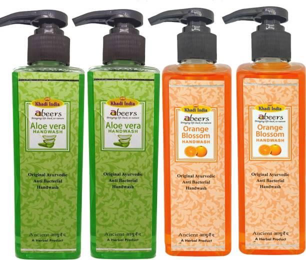 khadi abeers Orange Blossom & Aloevera Hand Wash - Pack of 4 (1000ml) Hand Wash Pump Dispenser