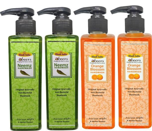 khadi abeers Orange Blossom & Neem Hand Wash - Pack of 4 (1000ml) Hand Wash Pump Dispenser