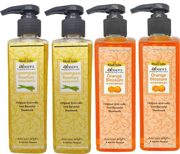 khadi abeers Orange Blossom & Lemongrass Rosemary Hand Wash - Pack of 4 (1000ml) Hand Wash Pump Dispenser