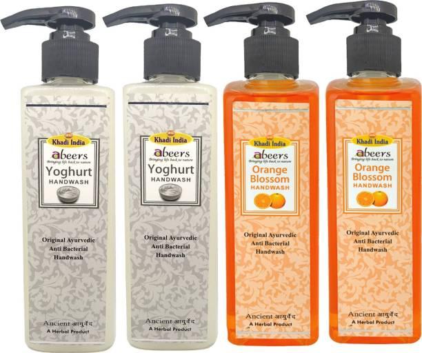 khadi abeers Orange Blossom & Yoghurt Hand Wash - Pack of 4 (1000ml) Hand Wash Pump Dispenser