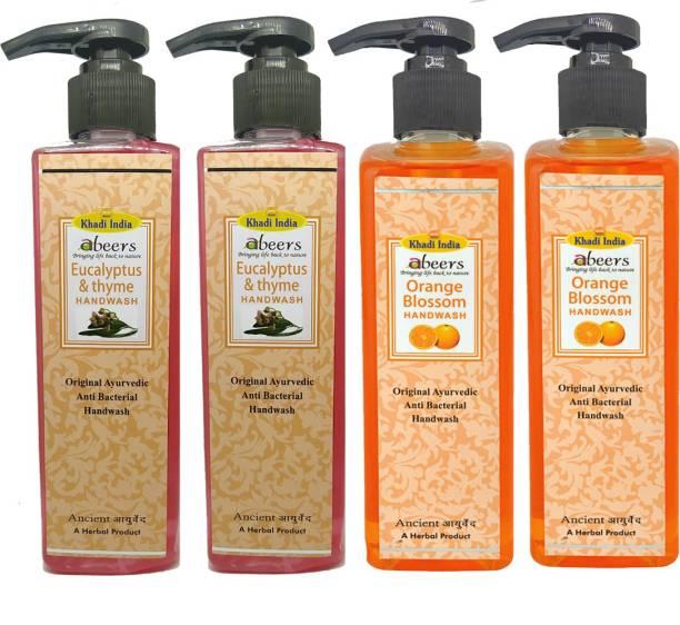 khadi abeers Orange Blossom & Eucalyptus Thyme Hand Wash - Pack of 4 (1000ml) Hand Wash Pump Dispenser