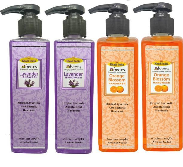khadi abeers Orange Blossom & Lavender Hand Wash - Pack of 4 (1000ml) Hand Wash Pump Dispenser