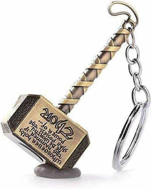 DOMUM Metal Super Hero Thor Hammer Keychain (Silver) Key Chain