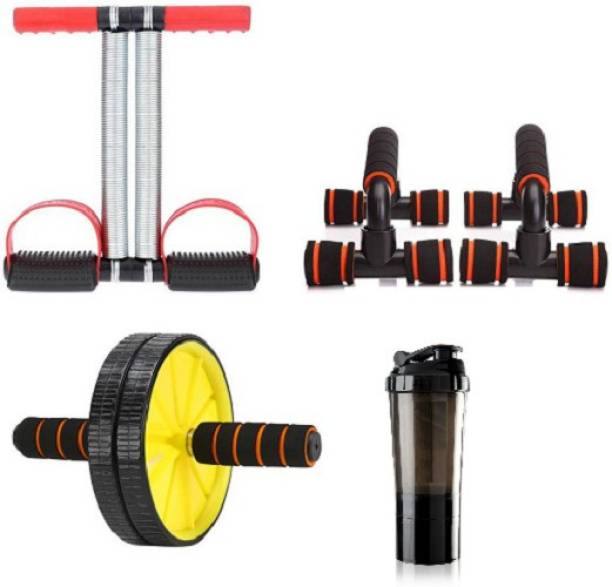 FITRONYX GYM FITNESS EQUIPMENT SET OF TUMMY TRIMMER WITH AB WHEEL, FOLDABLE PUSH UP BAR AND SHAKER Gym & Fitness Kit