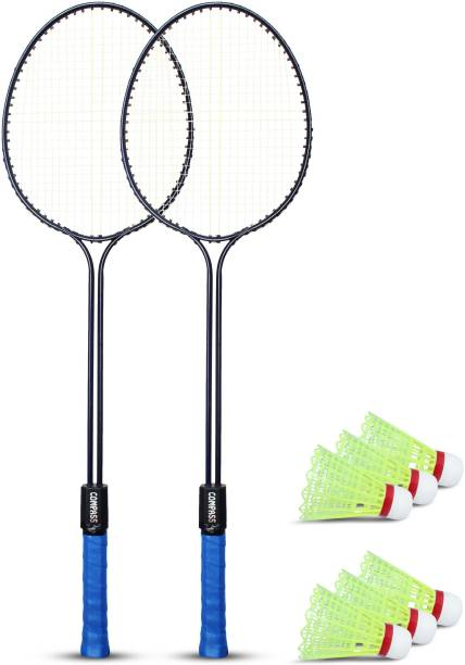 COMPASS Double Shaft Single Colour Set Of 2 Piece Badminton Racket With 6 Piece Plastic Shuttle Badminton Kit Badminton Kit