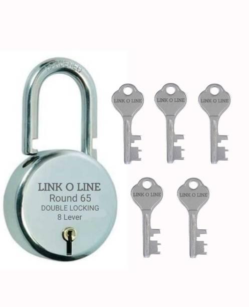 LINK O LINE Locks Round Steel Lever BCP Round 65mm (Silver) Padlock