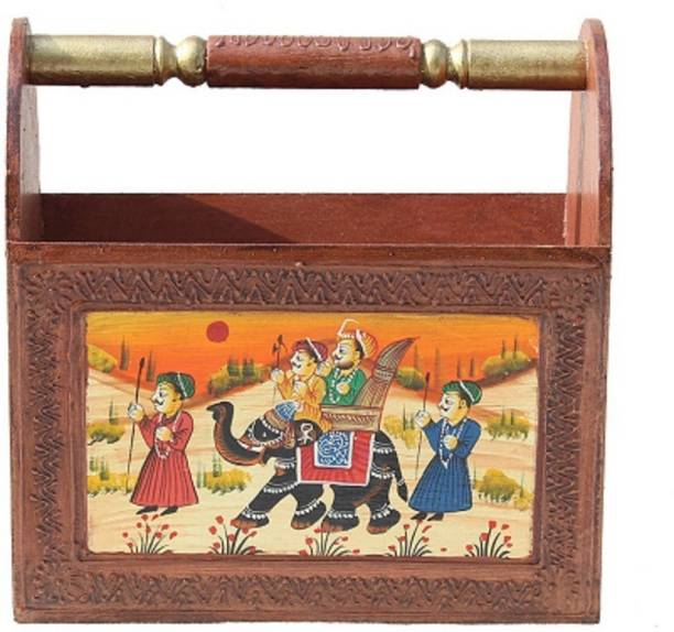 Apkamart Handcrafted Wooden Rack - Decorative Paper Holder Rack for Home Decoration and Gifts Floor Standing Magazine Holder