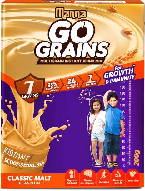 Manna Go Grains 200g   Multigrain Instant Drink Mix for Kids Growth & Immunity - 7 Grains & 7 Immunity Builders (Classic Malt)