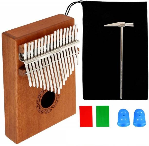 Techtest Thumb Piano Kalimba 17 Keys with Study Instruction & Tune Hammer, Portable Musical Instrument Finger Piano for Music Fans Kids Adults Beginners