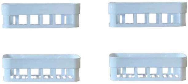 FosCadit Bathroom Kitchen Office Organize Shelf Rack Shower Corner Caddy Basket with Strong Adhesive Magic Sticker Plastic Wall Shelf