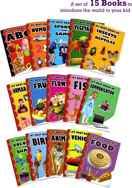 My Best Book Of Alphabets, Numbers, Colours, Shapes, Food Item, Animals, Insects, Birds, Flowers, Vehicles, Sports, Communication, Human Body For Kids Learning   15 My First Library Books   1 - 6 Year