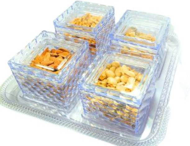 Raj 4 Pcs Dry Fruit Box, 4 Air-Tight Containers with Serving Tray, Snacks Box/Dryfruit Platter for Home/Office/Gift Tray, Container Serving Set