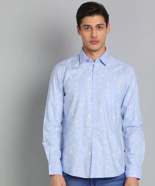 PARX Men Printed Casual Blue Shirt