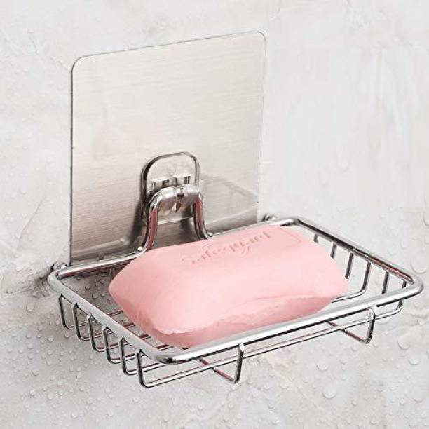Gnexin Wall Mount Self-Adhesive Stainless Steel Waterproof Kitchen Bathroom Single-Layer Soap Dish Holder, Soap Dish Holder, multicolor